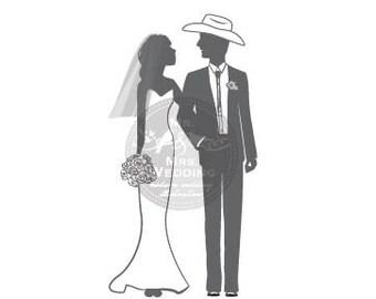 Silhouette Wedding Program - Couple 45