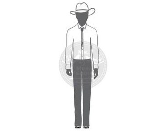 Silhouette Wedding Program - Groom Cowboy Hat 28