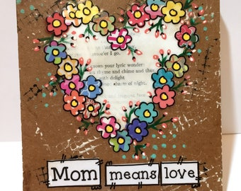 Mom gift, mothers Gift, Mom means love, Floral Heart Sign, Mother's Day gift