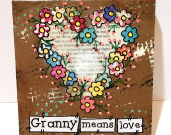Grandmother Gift, Granny Gift, Granny means love, Floral Heart Sign, Mother's Day gift