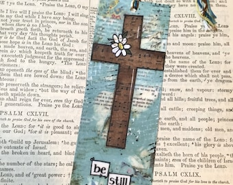 Bible Cross Bookmark, Be still and know, Bible Study Gift, Religious Bookmark