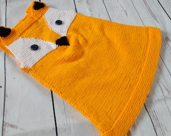 fox dress, knitted dress, knitted fox dress, baby dress, toddler dress, orange dress, woodland dress, tunic dress, wool dress, animal dress
