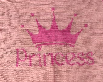 princess blanket, crochet blanket, girls blanket, pink blanket, peach blanket, baby girl, baby blanket, crochet baby, intarsia blanket
