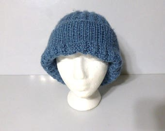c7d45dd436368 110417clth01 -- Hand Knitted HAT Winter Hat Tuke Blue Hat Hand Crafted Hat  Knit Hat