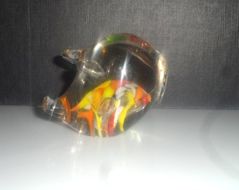 Glass Vintage PAPERWEIGHT Pig Blown Glass with Funky Inner Design Art Deco Glass Pig Head Desk Accessory Collectible Pig