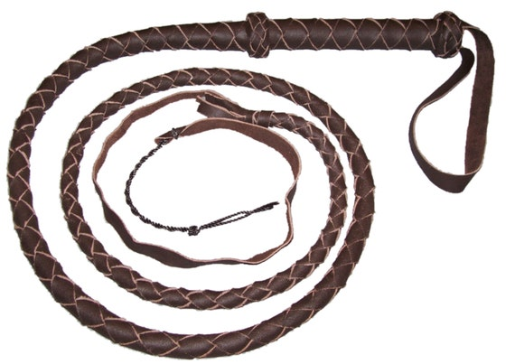 Indiana Jones Style 8 Foot /& 10 Foot Dark Brown Leather Bullwhip 8 Strands Real Cowhide Leather Bull Whip