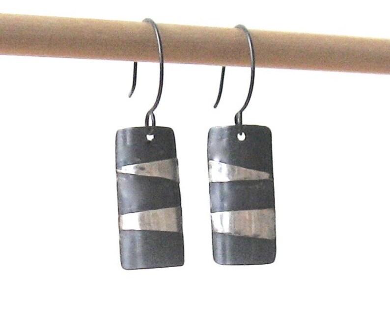 Silver shield earrings