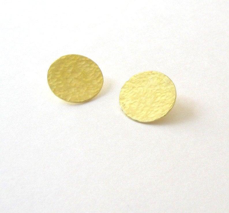 Golden disc studs Moon studs Brass and silver studs Textured brilliant brass and silver earrings