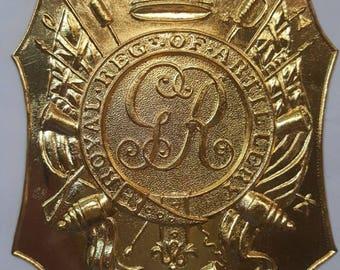 British Royal Artillery 1800 Shako Plate  (Brass)