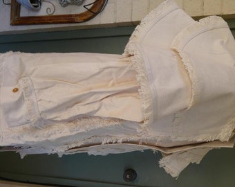 Hunting Coat Fringed Off White 18th and 19th century