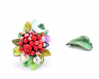 0bfe764b9 Nature Ring, Botanical Garden Handmade flower Gemstone bouquet bohemian  Swarovski Beadwork Boho Statement Luxury beaded Ring, Korean Jewelry