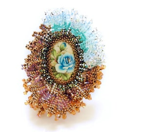 6499ebed7 Flower Ring, Crystal Luxury Unique Blue Handmade Nature Swarovski beadwork  beaded woven Statement Oversized adjustable Ring, Korean Jewelry
