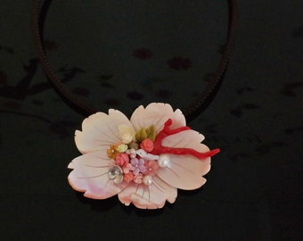 4e19a9e13 Mother of Pearl shell Necklace Brooch, Gemstone Flower Red Coral bird  Unique Gifts Handmade Bohemian Beaded Statement Luxury Korean Jewelry