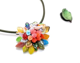 385327ccd Nature Necklace and Brooch, Leaves bouquet Bohemian Beadwork Botanical  Garden Handmade flower Statement Unique beaded Korean Jewelry