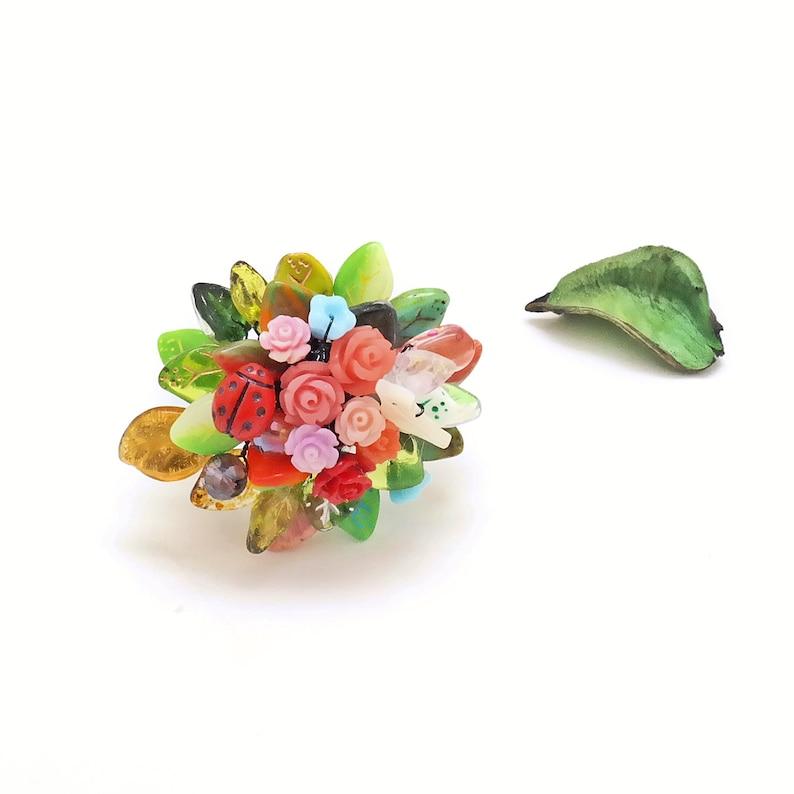 00d259222 Nature Ring Botanical Garden Handmade flower Gemstone bouquet | Etsy