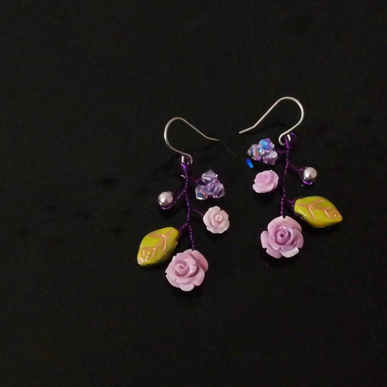 c10d6d8bff86 Titanium Earrings Purple Gemstone Nature Beaded Unique