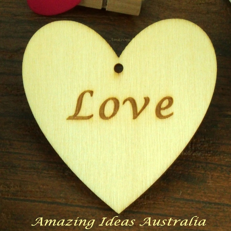 12 X Love Heart Wooden Gift Tags 6cm X 6cm Wedding Hanging Place Card Australia