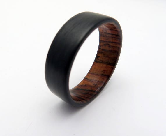 Holz, Kohlefaser Ring, handgefertigte Honduras Palisander Holz Hochzeitsband, schwarz Holz Ring Ring, Ring, Kohlefaser Hochzeitsband