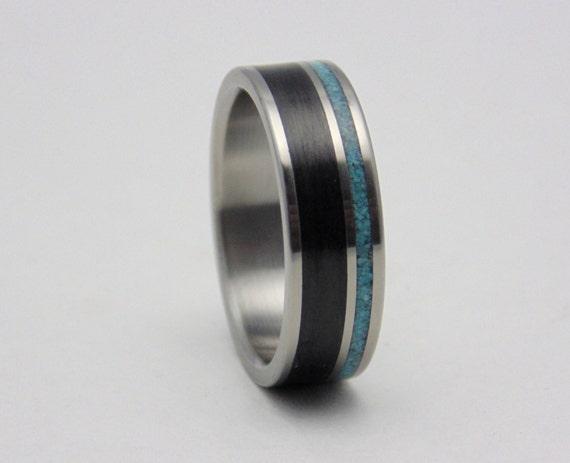 Kohlefaser und Türkis Eheringe Titan Ring mit Carbon und Türkis inlay