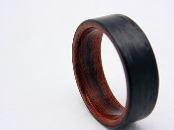 Mens Carbon Faser Ehering Rosenholz und Kohlefaser ring