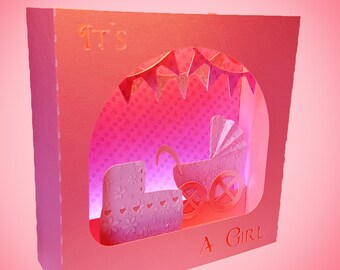 It's A Girl Greetings  box card template