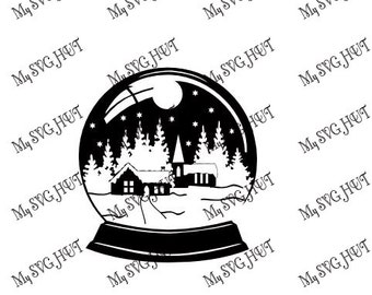 Snowy Scene Snowglobe Silhouette template