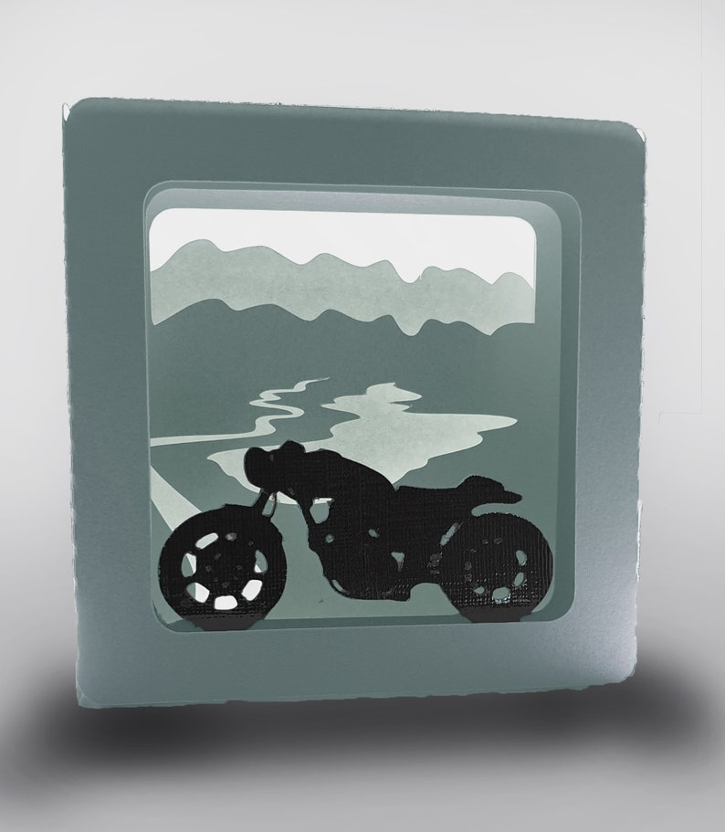 Motorbike and Mountains design 4 inch square box card template image 0