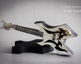 3D Electric Guitar gift box SVG PDF cricut DIGITAL download