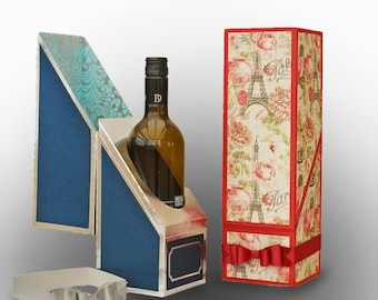 SVG Wine Bottle Gift Box DIGITAL download