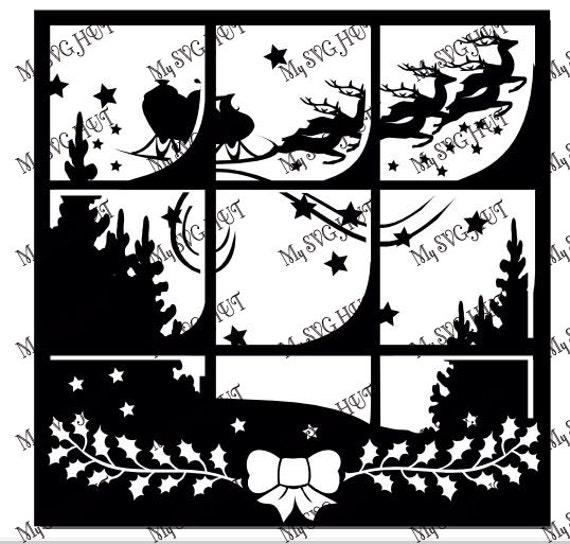 christmas window scene vinyl template etsy