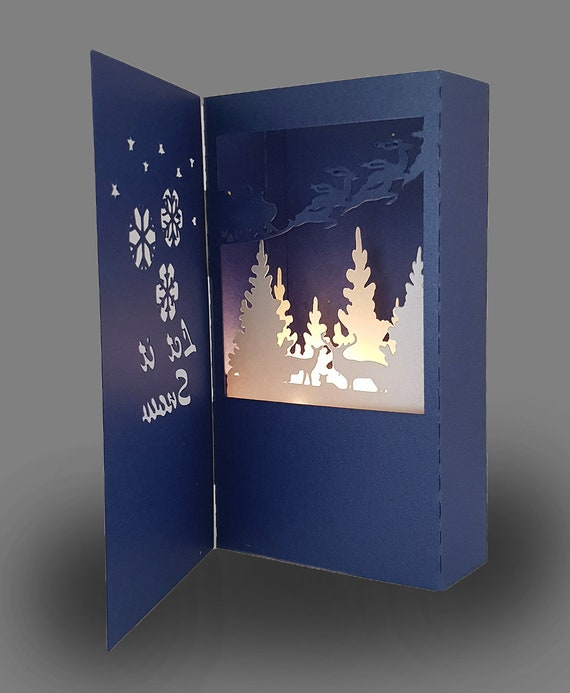 let it snow shadow box card template etsy
