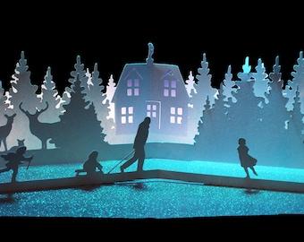 3D SVG Pop up card  Woodland Cottage scene