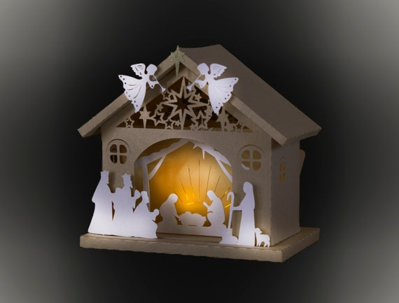 3d nativity barn template etsy