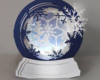 Snow Globe First Snow Box Card Template