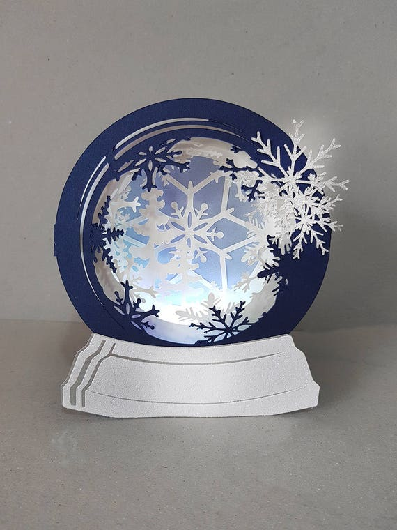 snow globe first snow box card template etsy