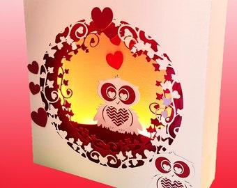 Valentine Owl box card template