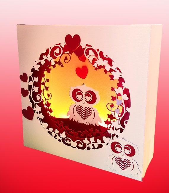 Valentine Owl Box Card Template Etsy