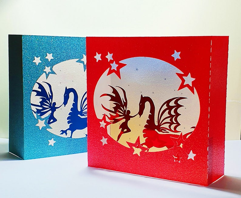 Fairy and Dragon box card template image 0