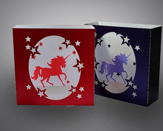 unicorn box card template etsy
