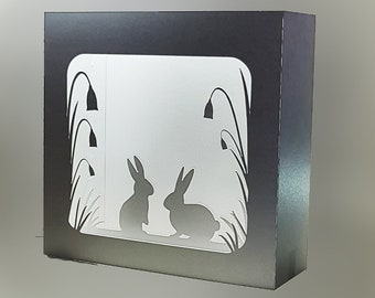 Easter Rabbits box card template