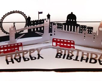 3D SVG Pop up card London Scene DIGITAL download