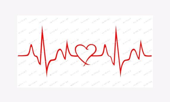 Herzschlag-Linie mit Herz-Vorlage | Etsy