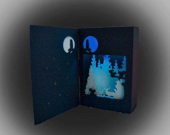 enchanted forest shadow box lantern template etsy