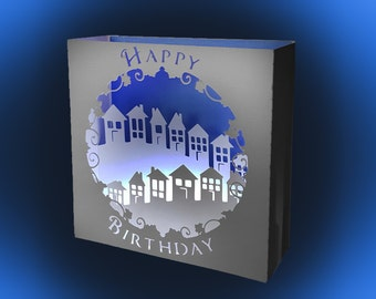 Village on the Hill Birthday box card template