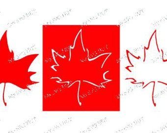 Set of 3 Maple leaf designs for embellishment vinyl etc