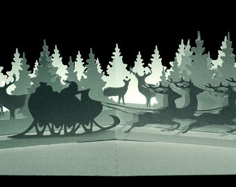 3D Pop up layered scene card Winter Wonderland
