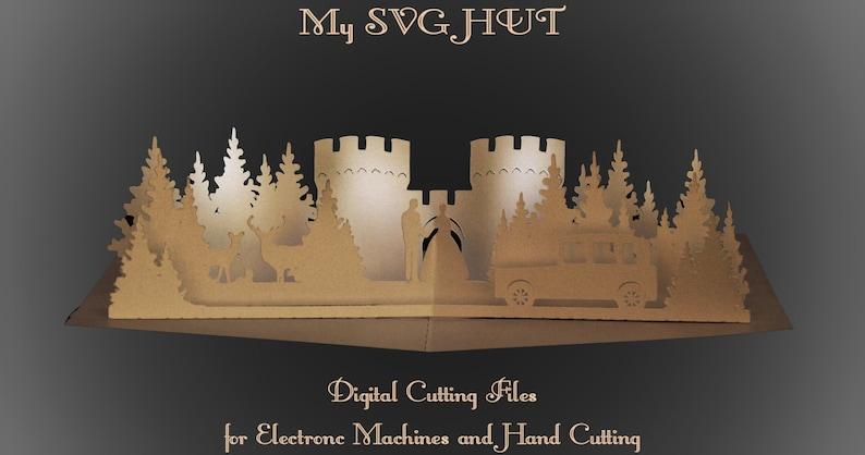 3D SVG PDF Pop up card Castle Wedding DIGITAL download image 0