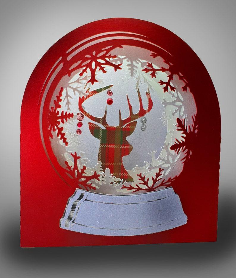 Snow Globe Winter stag digital template image 0