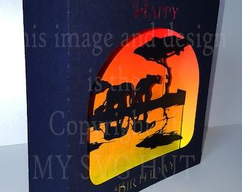Elephant roaming  REFLECTION  Greetings box card