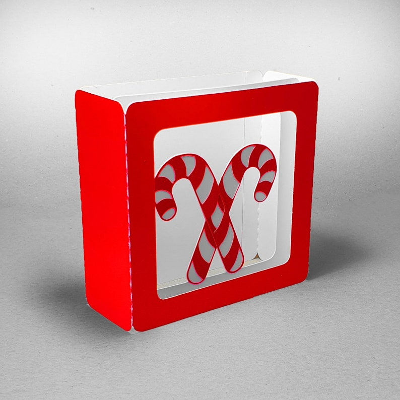 Candy Cane design 4 inch square box card template image 0